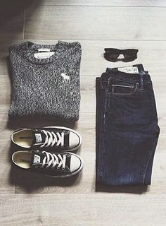 3cbc0dc44ca Casual outfit inspiration - jeans and converse create the perfect summer  style. How is a sweater and jeans perfect for summer