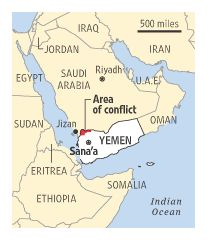 nice clean map of yemen and surrounding countries