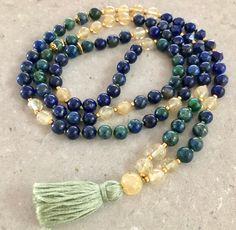 Lapis mala necklace - Spirit and Vision Throat Chakra, Silk Thread, Blue Crystals, Lapis Lazuli, Necklace Lengths, Beaded Bracelets, Spirit, Gemstones, Unique Jewelry