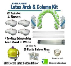 "Fabulous and easy to assemble Balloon Arch Kit. Includes 4 bases, 4 two-piece extension poles, 1 arch white arch cord, 60 balloon rings and even an electrical balloon inflator! One of the reviewers says... ""I'm a professional balloon artist and I love this frame it's very sturdy and the arches turned out nice! I've already used it twice for events with no problems."" #BalloonDecorations"