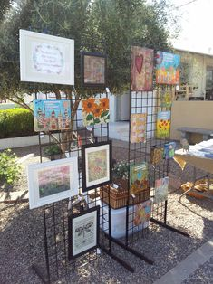 2 grids tall, canvas display at craft show… Craft Show Booths, Craft Booth Displays, Craft Show Ideas, Display Ideas, Stall Display, Display Stands, Booth Ideas, Art Display Panels, Canvas Display