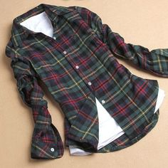 New Simple  Basic Style Girls Cotton Plaid Blouse Long Sleeves Lapel Shirt Fashion Classic Blouse
