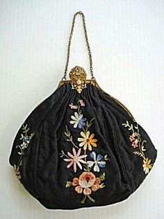 Trendy Women's Purses : Antique bag Vintage Purses, Vintage Bags, Vintage Handbags, Beaded Purses, Beaded Bags, Embroidered Bag, Antique Clothing, Fabric Bags, Womens Purses