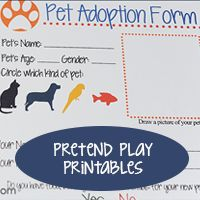 Pretend Play Sets Airport *printable* Classroom / School *printables* Coffee Shop *printable* Ice Cream Shoppe *printable* Dress Shop *printables* Pet Adoption & Vet Clinic *printables* Restaurant *printables*
