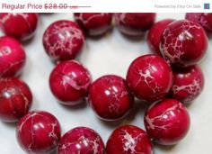 ON #SALE #Large #Red #Impression #Jasper #Beads by BeadyEyedBird on Etsy, $22.40 #Christmas in July