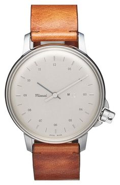 Free shipping and returns on Miansai 'M12' Round Leather Strap Watch, 39mm at Nordstrom.com. Subtle markers shift focus onto the impeccable Swiss craftsmanship and classically handsome profile of this quartz-powered watch proudly designed in Miansai's Miami-based studio. The resilient stainless-steel case rests on a comfortable watchband of premium vintage leather from Italy.