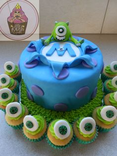 Monsters inc cake @ https://www.facebook.com/pages/Little-Krush-Cupcakes-NZ/485728288124195?