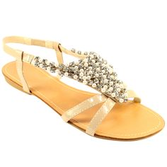Diamonte and pearl flat sandals