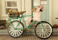 Dollhouse Miniature Bicycle with Crate of by cinderellamoments, $136.70
