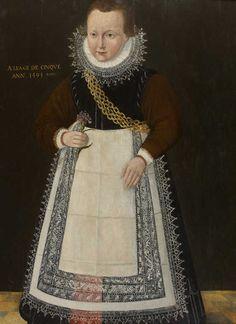 Ecole de FRISE, Portrait d'enfant âgé de 5 ans, 1593, 88x 65, chêne, | Daguerre