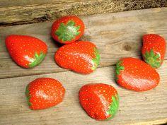 Decoy Strawberry Rocks to Deter Bird Burglars #garden #decoration