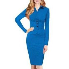 #trendsgal.com - #Trendsgal Turn Down Collar Long Sleeve Solid Color Faux Twinset Bodycon Dress - AdoreWe.com