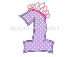 Number One Tiara Crown 1st Birthday Applique Machine Embroidery Design girl princess purple first  INSTANT DOWNLOAD by AppliquetionStation on Etsy https://www.etsy.com/listing/102020110/number-one-tiara-crown-1st-birthday