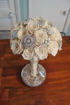 rustyfarmhouse: DIY Handmade Brooch Bouquet with Real Preserved Roses