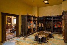 Montana mudroom...fishing gear, hunting gear, hiking gear, rock climbing gear, whitewater rafting gear, kayaking gear......great idea for a storage room or gun room: