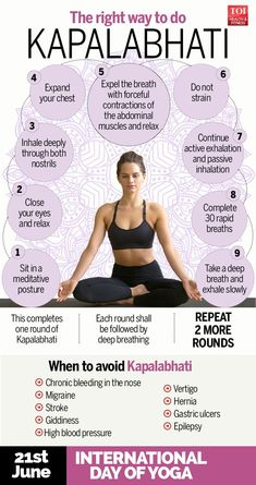 Infografik: So solltest du Kapalabhati - Times of India machen - Yoga Ashtanga Yoga, Yoga Mudra, Kundalini Yoga, Yoga Meditation, Pranayama, Yoga Fitness, Health Fitness, Yoga Mantras, Yoga Quotes