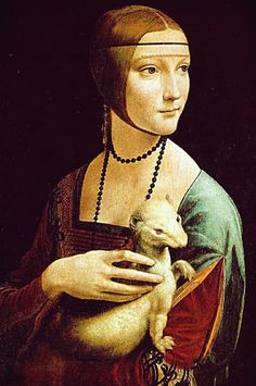 Leonardo Da Vinci 's lady with an ermine  usually in Krakow but which I saw in Warsaw