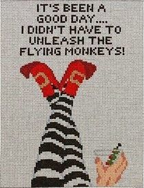 wicked witch/flying monkeys needlepoint canvas