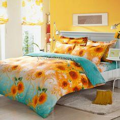 Wholesale Sunflower bedding set luxury bedding sheet Include Duvet Cover Bed sheet Pillowcase Queen size comforter set,duvet cover set,bed linen, $63.0/Piece | DHgate