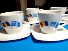Coffee cups hand painted with Greek and Romanian flag/ Ceşti cafea, pictate manual cu steagul Greciei şi Romaniei Coffee Set, Coffee Cups, Painted Mugs, Hand Painted, Romanian Flag, Greek Pattern, Cupped Hands, Ceramic Angels, Flower Stands