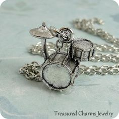 Drum Set Necklace Silver Drum Set Charm on a by treasuredcharms, $8.95