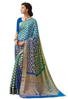 Buy Aqua, Green and Royal Blue Faux Georgette Saree with Blouse online, work: Woven, color: Aqua Blue / Green / Royal Blue, usage: Wedding, category: Sarees, fabric: Georgette, price: $91.28, item code: SMA4614, gender: women, brand: Utsav
