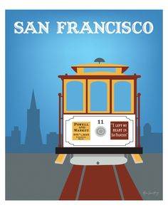 Cable Car San Francisco, California - Travel Wall Art Poster Print for Home, Office, or Nursery Room - style \ via Etsy. San Francisco Cable Car, San Francisco Travel, San Francisco California, Car Wall Art, Travel Wall Art, California Art, California Travel, Voyage Usa, Cities