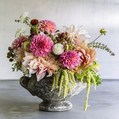 """Garden-to-vase bouquet - Best Bouquet Flowers to Grow - Sunset // scabiosa, zinnias, dahlias """"cafe au lait"""", amaranth """"green tails"""", echinacea, holly Fern, and more."""