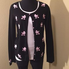 Button down sweater Black sweater with pink poodles. Very cute.. Sweaters Cardigans