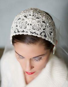 Ivory Vintage Chantilly Lace Veil Bridal Veil Cap by GildedShadows, Pelo Vintage, Lace Veils, Bridal Headpieces, Bridal Fascinator, Wedding Veils, Wedding Dresses, Chantilly Lace, Bridal Lace, Wedding Hair Accessories
