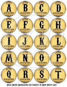 Halloween Ouija Round Letters