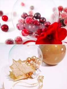 Holly Ornament What you need: A clear glass ornament; small Christmas tree pick with berries; ribbon; wire cutters; and clear craft glue   How to make it: Use wire cutters to cut the berries from the Christmas tree pick. Remove the cap from the clear glass ornament and fill it with
