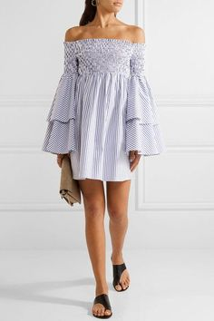 Caroline Constas | Apollonia off-the-shoulder smocked striped cotton-poplin mini dress | NET-A-PORTER.COM