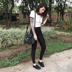 Surviving the hit in black 🔥🖤 🎧 Atilla - Payback #songoftheday #lamaryan #tattoedgirl #ootd
