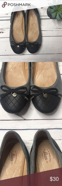 {Bass} sz 8 lacy quilt gray black ballet flats In perfect condition! I do think these run a tad small, so probably best for someone between 7.5 and 8 as I'm an 8 and they're kinda tight on me.   Offers always welcome! Bass Shoes Flats & Loafers