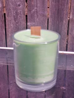 green unscented soy glass jar container 6 ounce by CrochetByMel, $10.00
