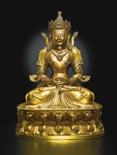 AN IMPERIAL GILT-BRONZE FIGURE OF AMITAYUS<br>QING DYNASTY, KANGXI PERIOD   Lot   Sotheby's