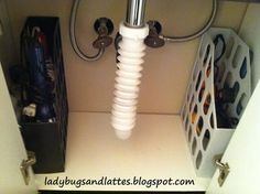 Under Sink Desk Organizers. Store hair dryer and curling irons in desk organizers to maximize storage space in a small bathroom. Organisation Hacks, Small Space Organization, Bathroom Organization, Storage Spaces, Bathroom Ideas, Bathroom Interior, Bathroom Small, Master Bathroom, Bathroom Renovations