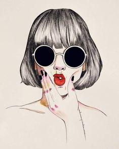on pencil portrait in 2019 ilustrac Beautiful Drawings, Cute Drawings, Pop Art Illustration, Illustrations, Wallpaper World, Art Watercolor, Buch Design, Dibujos Cute, Anime Art Girl