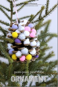This simple to make Pom-Pom Pine Cone Ornament is sure to be a beautiful addition to your tree this holiday season & a wonderful kiddo craft to do. Christmas Bazaar Crafts, Christmas Crafts For Kids To Make, Christmas Ornaments To Make, Christmas Makes, Crafts To Do, Christmas Time, Kids Ornament, Holiday Crafts, Holiday Recipes