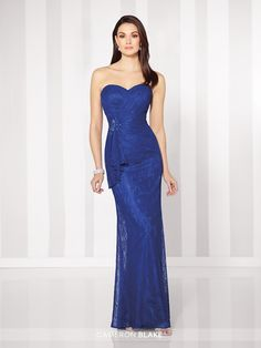 Cameron Blake - 216683 - Strapless lace sheath with sweetheart neckline, asymmetrically draped bodice with side hand-beaded motif and ruffle, straight column skirt. Matching shawl and removable straps included. Sizes: 4 - 20 Colors: Royal Blue, Taupe, Silver, Cappuccino