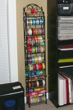 using a wine rack for ribbon storage. by terri