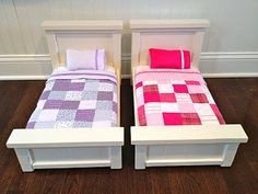 doll beds. ana white's pattern altered for American girl dolls/gives tutorial for bedding also!