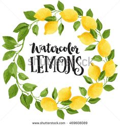 Bright yellow watercolor lemons and green leaves wreath isolated on white background. Botanical illustration.