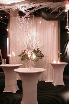 tables with spandex linen