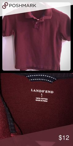 SOLD lands end polo shirt - boys size 7 Lands end brand maroon short sleeved polo shirt. Boys Size 7. In good condition. Please see my closet for other deals. Lands' End Shirts & Tops Polos