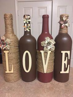 Decoración de la botella de vino por lovetammyscrafts en Etsy