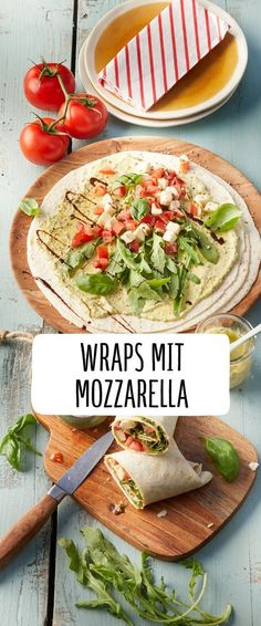 Tomato and mozzarella wraps with pesto, . - Tomato and mozzarella wraps with pesto, - Easy Healthy Recipes, Healthy Snacks, Easy Meals, Healthy Nutrition, Eat Healthy, Vegetarian Recipes Dinner, Healthy Dinner Recipes, Summer Recipes, Snack Recipes