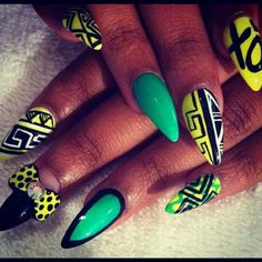 African print inspired 3d nail art