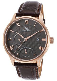 Lucien Piccard Watches Volos Dual Time Dark Brown Genuine Leather Gunmetal Dial 10339-RG-014-BRW,    #LucienPiccard,    #10339RG014BRW,    #Fashion